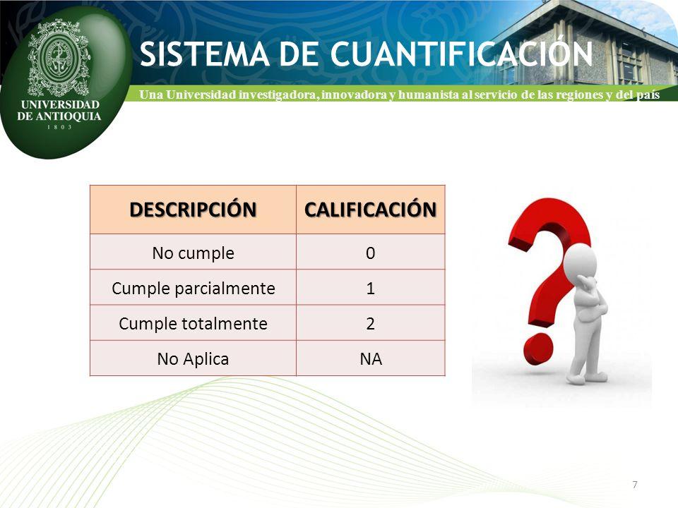 Una Universidad investigadora, innovadora y humanista al servicio de las regiones y del país CATEGORÍAS DE PROCESOS 8