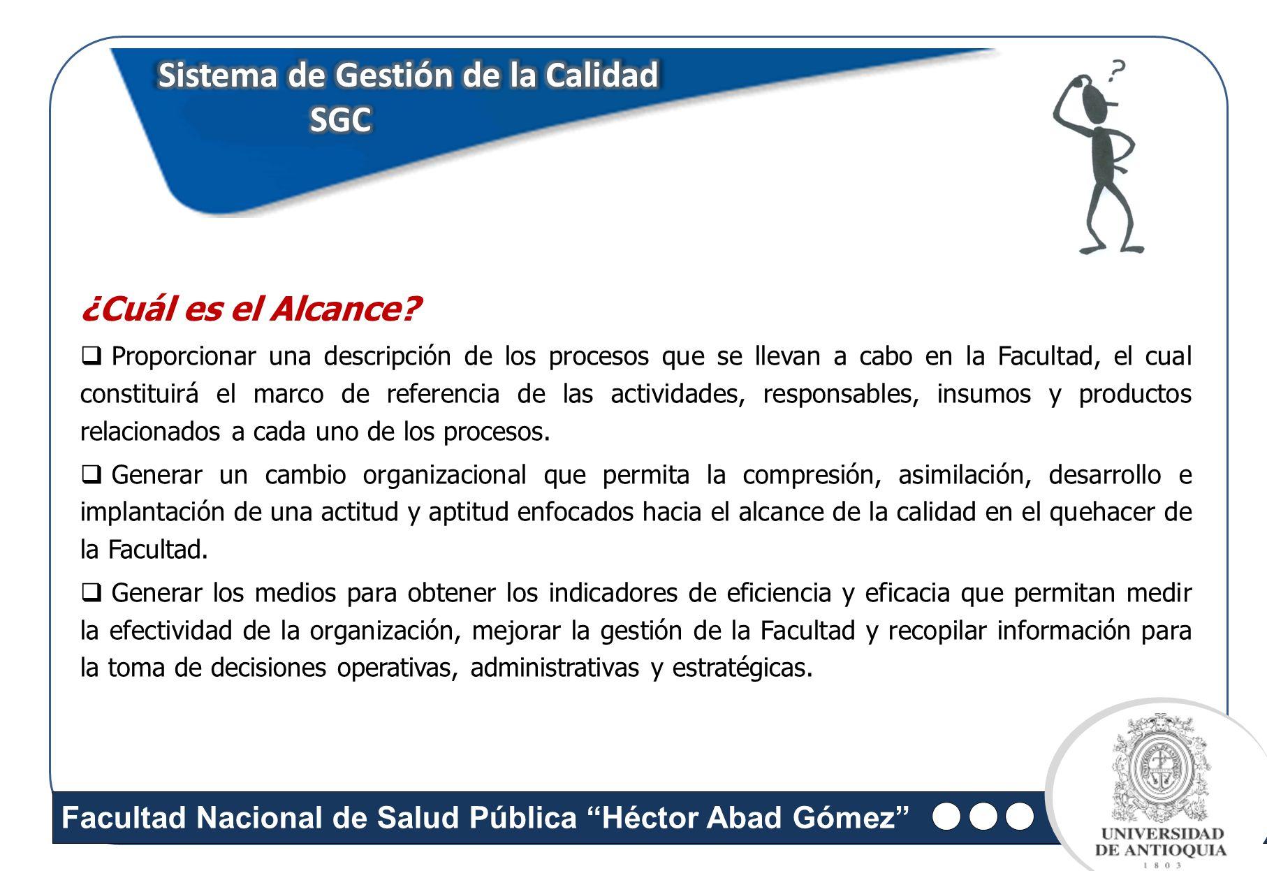 Facultad Nacional de Salud Pública Héctor Abad Gómez Sistema de Gestión de la Calidad SGC SGC Proporcionar una descripción de los procesos que se llev