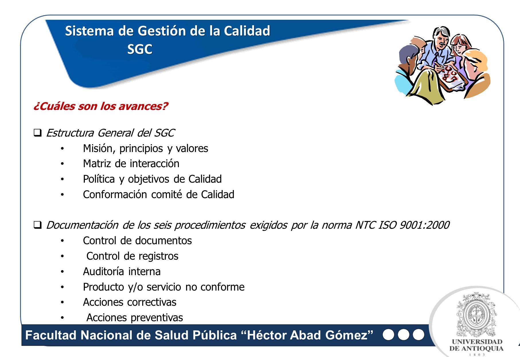 Facultad Nacional de Salud Pública Héctor Abad Gómez Sistema de Gestión de la Calidad SGC SGC ¿Cuáles son los avances? Estructura General del SGC Misi
