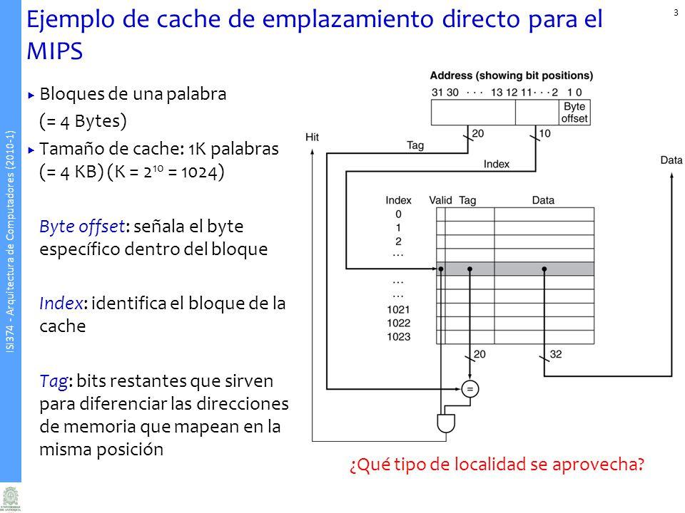 ISI374 - Arquitectura de Computadores (2010-1) Ejemplo de cache de emplazamiento directo para el MIPS Bloques de una palabra (= 4 Bytes) Tamaño de cache: 1K palabras (= 4 KB) (K = 2 10 = 1024) Byte offset: señala el byte específico dentro del bloque Index: identifica el bloque de la cache Tag: bits restantes que sirven para diferenciar las direcciones de memoria que mapean en la misma posición 3 ¿Qué tipo de localidad se aprovecha?