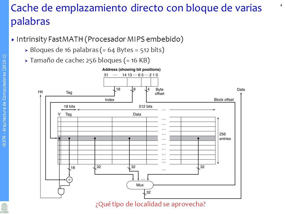 ISI374 - Arquitectura de Computadores (2010-1) Cache de emplazamiento directo con bloque de varias palabras Intrinsity FastMATH (Procesador MIPS embebido) Bloques de 16 palabras (= 64 Bytes = 512 bits) Tamaño de cache: 256 bloques (= 16 KB) ¿Qué tipo de localidad se aprovecha.
