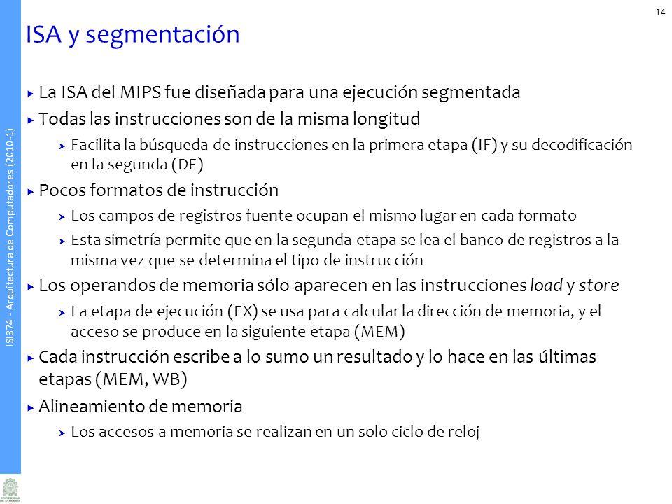 ISI374 - Arquitectura de Computadores (2010-1) ISA y segmentación La ISA del MIPS fue diseñada para una ejecución segmentada Todas las instrucciones son de la misma longitud Facilita la búsqueda de instrucciones en la primera etapa (IF) y su decodificación en la segunda (DE) Pocos formatos de instrucción Los campos de registros fuente ocupan el mismo lugar en cada formato Esta simetría permite que en la segunda etapa se lea el banco de registros a la misma vez que se determina el tipo de instrucción Los operandos de memoria sólo aparecen en las instrucciones load y store La etapa de ejecución (EX) se usa para calcular la dirección de memoria, y el acceso se produce en la siguiente etapa (MEM) Cada instrucción escribe a lo sumo un resultado y lo hace en las últimas etapas (MEM, WB) Alineamiento de memoria Los accesos a memoria se realizan en un solo ciclo de reloj 14