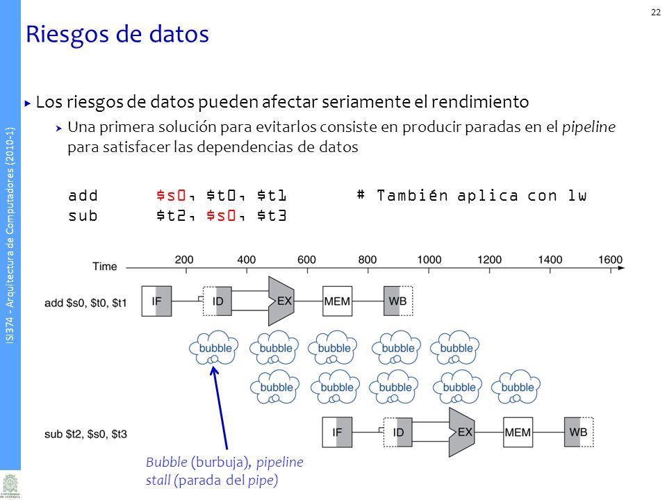 ISI374 - Arquitectura de Computadores (2010-1) Riesgos de datos Los riesgos de datos pueden afectar seriamente el rendimiento Una primera solución para evitarlos consiste en producir paradas en el pipeline para satisfacer las dependencias de datos add$s0, $t0, $t1# También aplica con lw sub$t2, $s0, $t3 22 Bubble (burbuja), pipeline stall (parada del pipe)