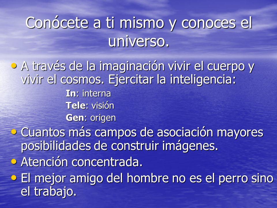 Conócete a ti mismo y conoces el universo. A través de la imaginación vivir el cuerpo y vivir el cosmos. Ejercitar la inteligencia: A través de la ima