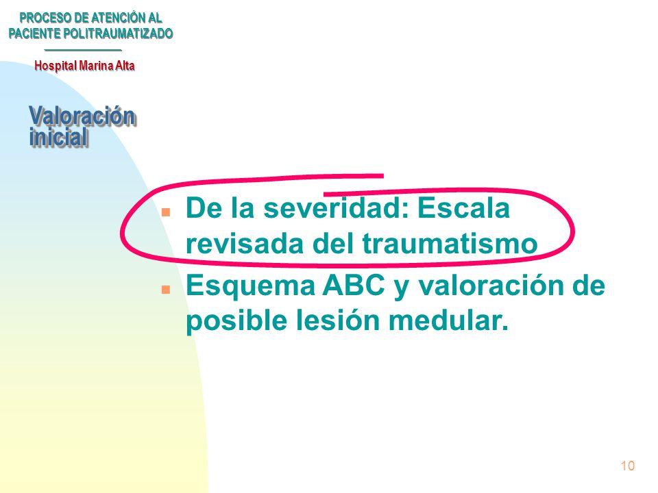 PROCESO DE ATENCIÓN AL PACIENTE POLITRAUMATIZADO Hospital Marina Alta 9 n Llegada de tres o más enfermos con lesiones severas en la escala de trauma r