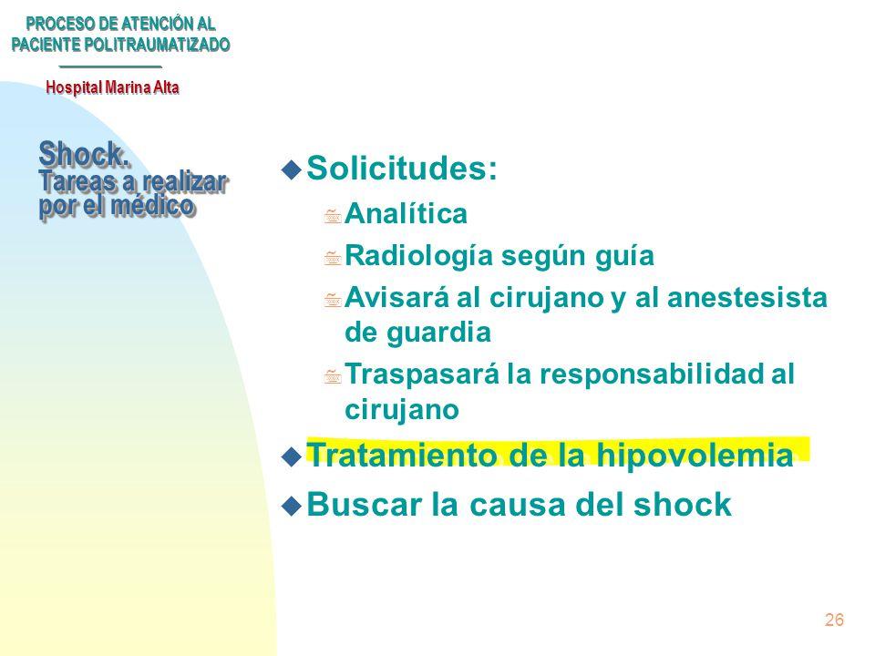 PROCESO DE ATENCIÓN AL PACIENTE POLITRAUMATIZADO Hospital Marina Alta 25 3Hemograma 3Coagulación 3Pruebas cruzadas 3Bioquímica 3Gasometría venosa 3Hem