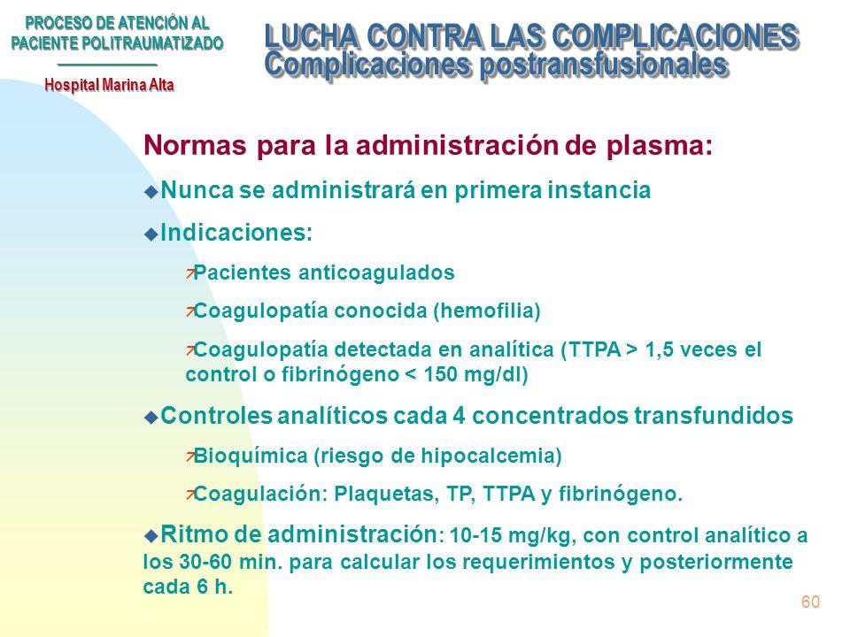 PROCESO DE ATENCIÓN AL PACIENTE POLITRAUMATIZADO Hospital Marina Alta 59 Subproceso LUCHA CONTRA LAS COMPLICACIONES. u Postransfusionales u Tromboembó