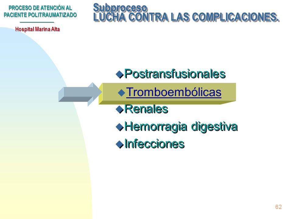 PROCESO DE ATENCIÓN AL PACIENTE POLITRAUMATIZADO Hospital Marina Alta 61 Normas para la administración de plaquetas: u Nunca se administrará en primer