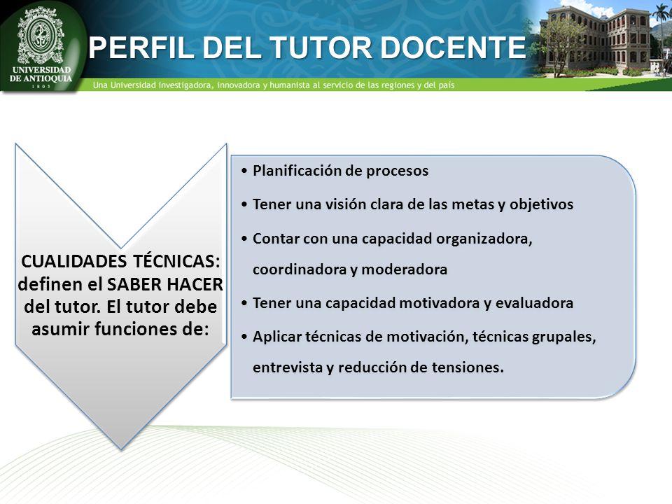 CUALIDADES TÉCNICAS: definen el SABER HACER del tutor. El tutor debe asumir funciones de: Planificación de procesos Tener una visión clara de las meta