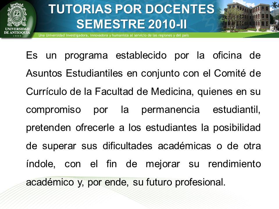 TUTORIAS POR DOCENTES SEMESTRE 2010-II Es un programa establecido por la oficina de Asuntos Estudiantiles en conjunto con el Comité de Currículo de la