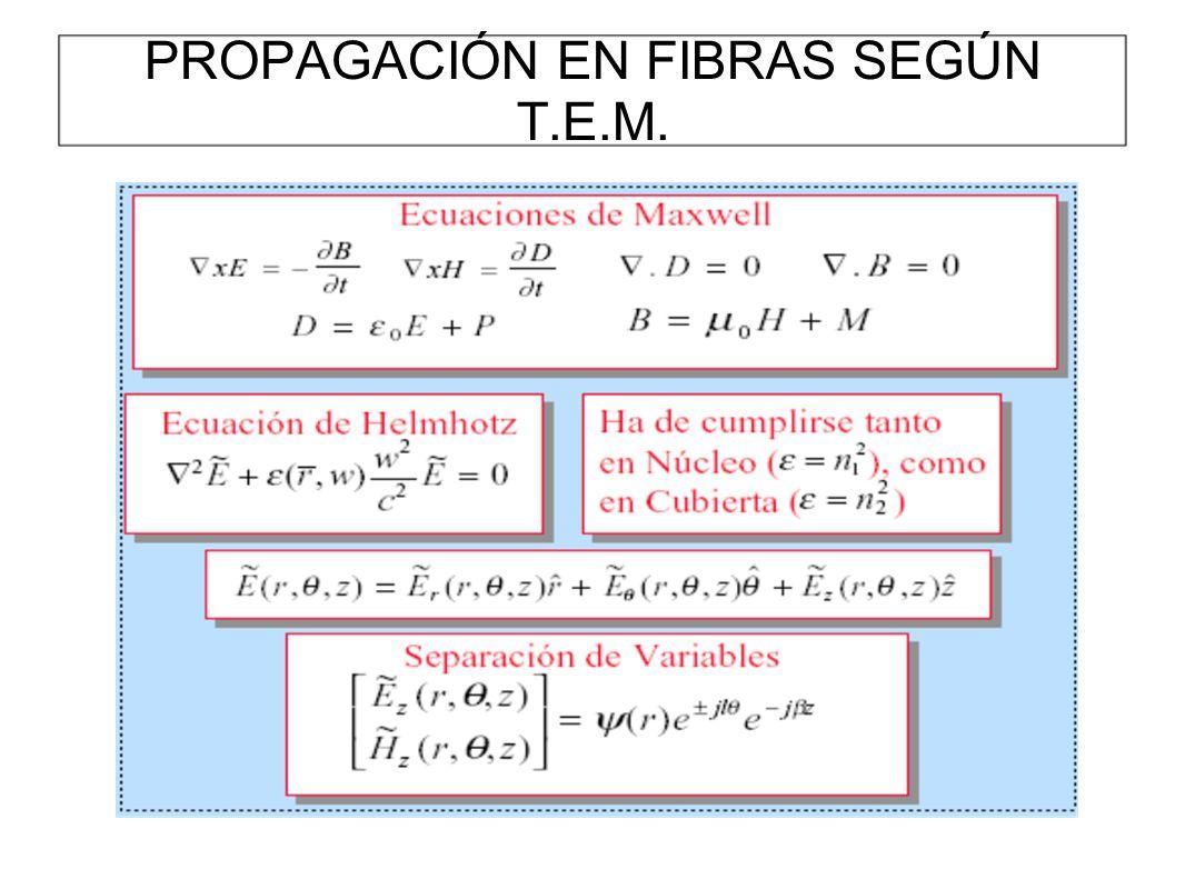 PROPAGACIÓN EN FIBRAS SEGÚN T.E.M.