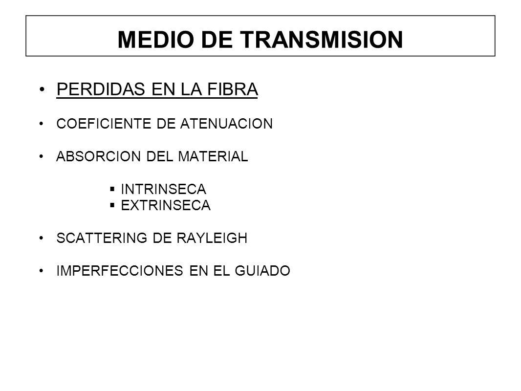 MEDIO DE TRANSMISION PERDIDAS EN LA FIBRA COEFICIENTE DE ATENUACION ABSORCION DEL MATERIAL INTRINSECA EXTRINSECA SCATTERING DE RAYLEIGH IMPERFECCIONES EN EL GUIADO