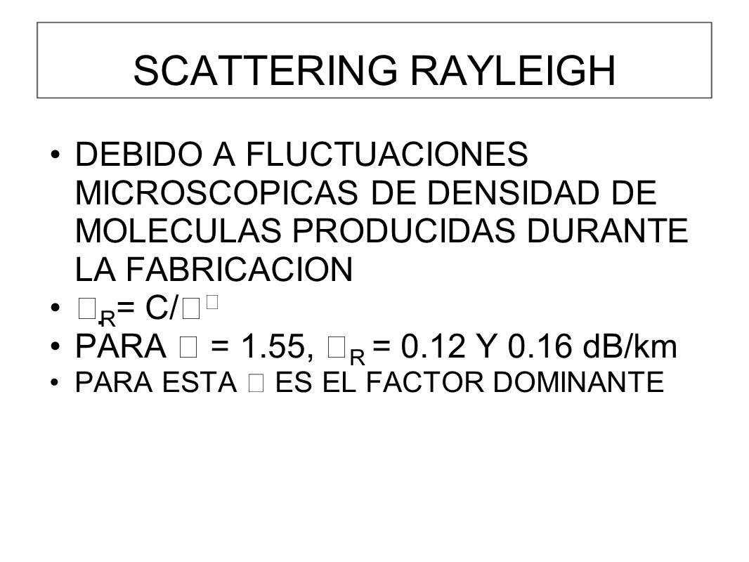 SCATTERING RAYLEIGH DEBIDO A FLUCTUACIONES MICROSCOPICAS DE DENSIDAD DE MOLECULAS PRODUCIDAS DURANTE LA FABRICACION R = C/ PARA = 1.55, R = 0.12 Y 0.16 dB/km PARA ESTA ES EL FACTOR DOMINANTE