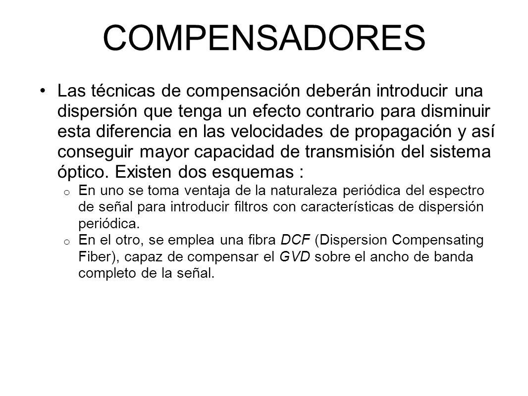 COMPENSADORES Las técnicas de compensación deberán introducir una dispersión que tenga un efecto contrario para disminuir esta diferencia en las velocidades de propagación y así conseguir mayor capacidad de transmisión del sistema óptico.