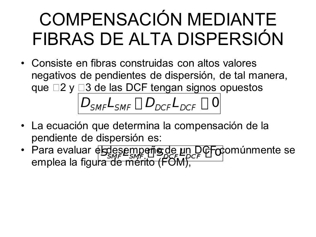 COMPENSACIÓN MEDIANTE FIBRAS DE ALTA DISPERSIÓN Consiste en fibras construidas con altos valores negativos de pendientes de dispersión, de tal manera, que 2 y 3 de las DCF tengan signos opuestos La ecuación que determina la compensación de la pendiente de dispersión es: Para evaluar el desempeño de un DCF comúnmente se emplea la figura de mérito (FOM),