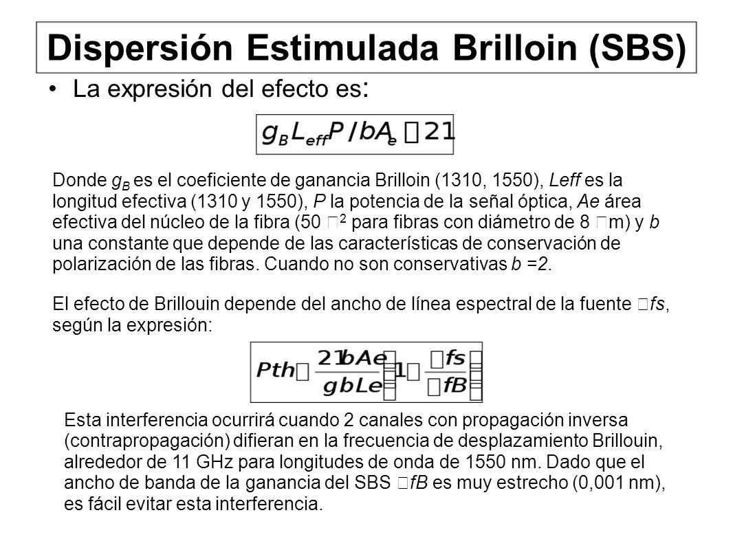 Dispersión Estimulada Brilloin (SBS) La expresión del efecto es : Donde g B es el coeficiente de ganancia Brilloin (1310, 1550), Leff es la longitud efectiva (1310 y 1550), P la potencia de la señal óptica, Ae área efectiva del núcleo de la fibra (50 2 para fibras con diámetro de 8 m) y b una constante que depende de las características de conservación de polarización de las fibras.