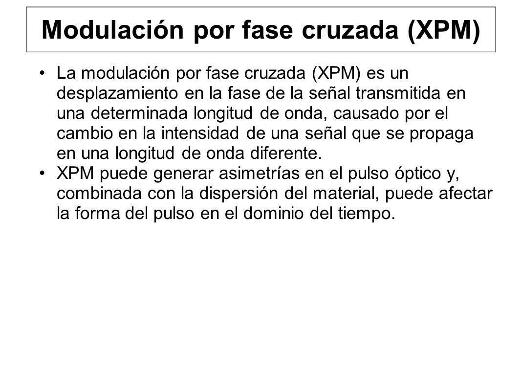 Modulación por fase cruzada (XPM) La modulación por fase cruzada (XPM) es un desplazamiento en la fase de la señal transmitida en una determinada longitud de onda, causado por el cambio en la intensidad de una señal que se propaga en una longitud de onda diferente.