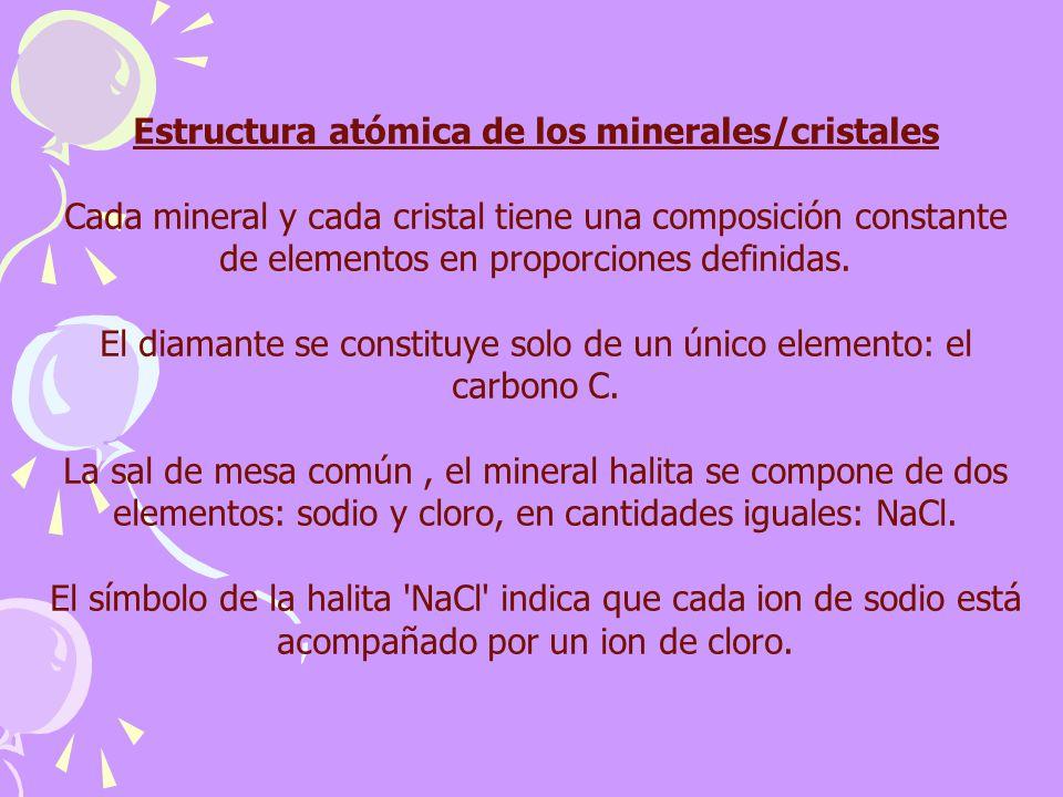 Estructura atómica de los minerales/cristales Cada mineral y cada cristal tiene una composición constante de elementos en proporciones definidas. El d