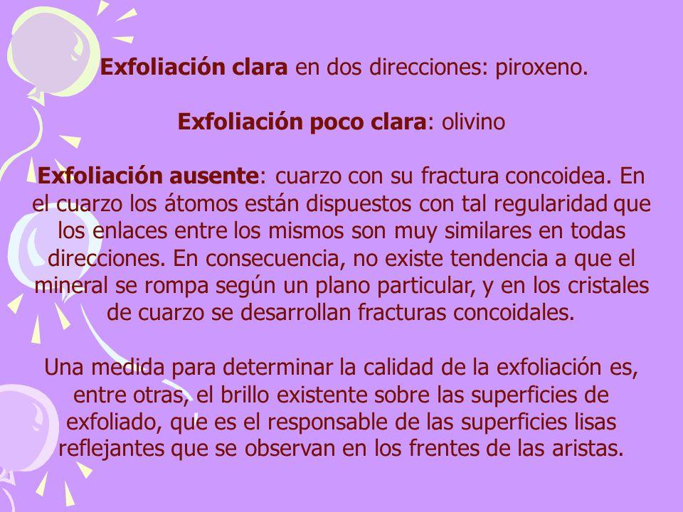 Exfoliación clara en dos direcciones: piroxeno. Exfoliación poco clara: olivino Exfoliación ausente: cuarzo con su fractura concoidea. En el cuarzo lo