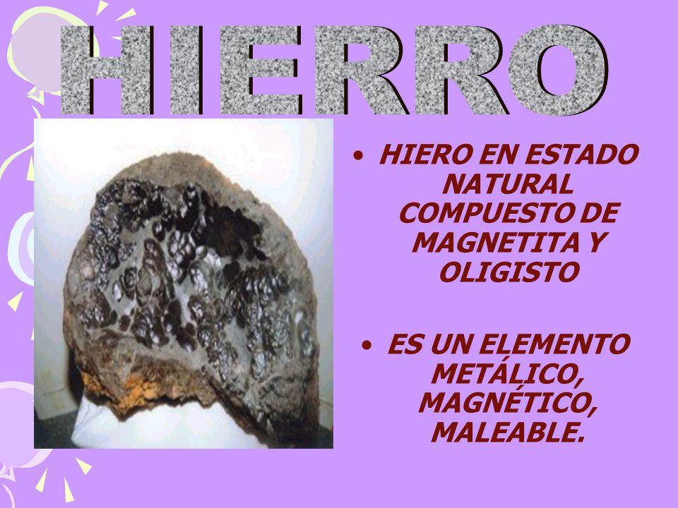 HIERO EN ESTADO NATURAL COMPUESTO DE MAGNETITA Y OLIGISTO ES UN ELEMENTO METÁLICO, MAGNÉTICO, MALEABLE.