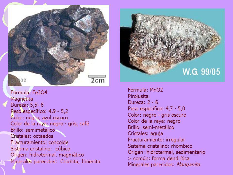 Formula: Fe3O4 Magnetita Dureza: 5,5- 6 Peso específico: 4,9 - 5,2 Color: negro, azul oscuro Color de la raya: negro - gris, café Brillo: semimetálico