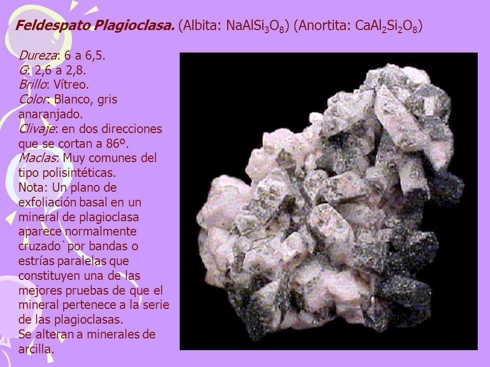 Feldespato Plagioclasa. (Albita: NaAlSi 3 O 8 ) (Anortita: CaAl 2 Si 2 O 8 ) Dureza: 6 a 6,5. G: 2,6 a 2,8. Brillo: Vítreo. Color: Blanco, gris anaran