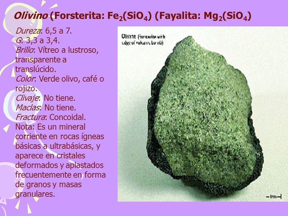 Olivino (Forsterita: Fe 2 (SiO 4 ) (Fayalita: Mg 2 (SiO 4 ) Dureza: 6,5 a 7. G: 3,3 a 3,4. Brillo: Vítreo a lustroso, transparente a translúcido. Colo
