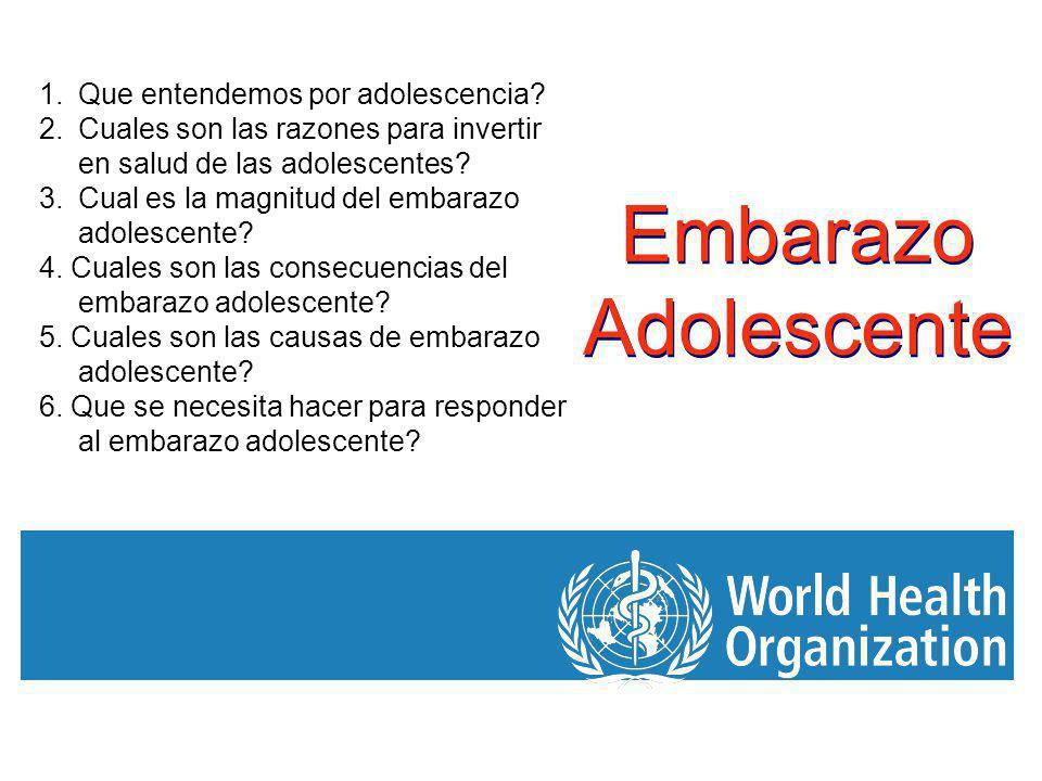 Embarazo Adolescente 1.Que entendemos por adolescencia? 2.Cuales son las razones para invertir en salud de las adolescentes? 3.Cual es la magnitud del