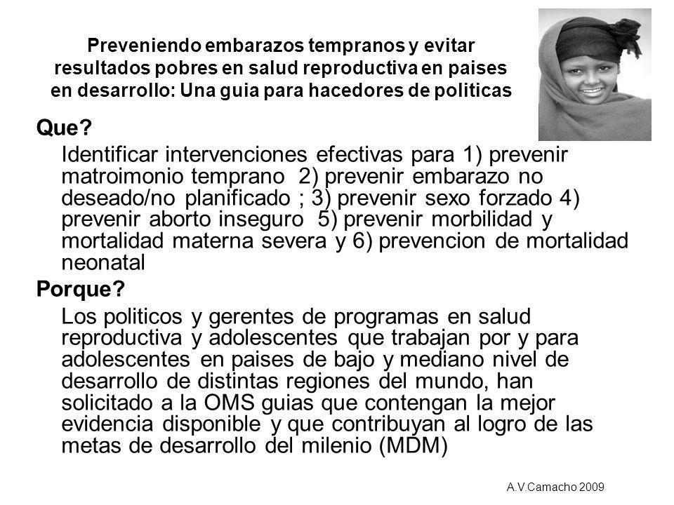 Que? Identificar intervenciones efectivas para 1) prevenir matroimonio temprano 2) prevenir embarazo no deseado/no planificado ; 3) prevenir sexo forz