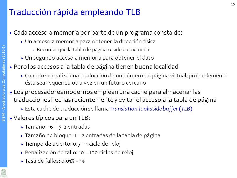 ISI374 - Arquitectura de Computadores (2010-1) Traducción rápida empleando TLB 15 Cada acceso a memoria por parte de un programa consta de: Un acceso
