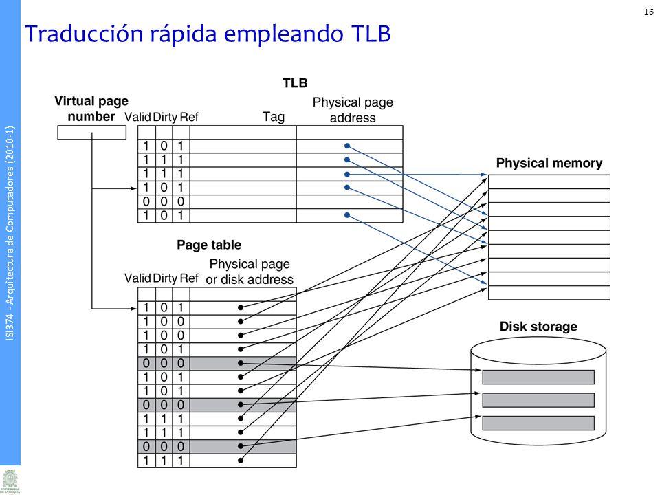 ISI374 - Arquitectura de Computadores (2010-1) Traducción rápida empleando TLB 16