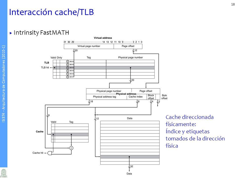 ISI374 - Arquitectura de Computadores (2010-1) Interacción cache/TLB 18 Intrinsity FastMATH Cache direccionada físicamente: Índice y etiquetas tomados