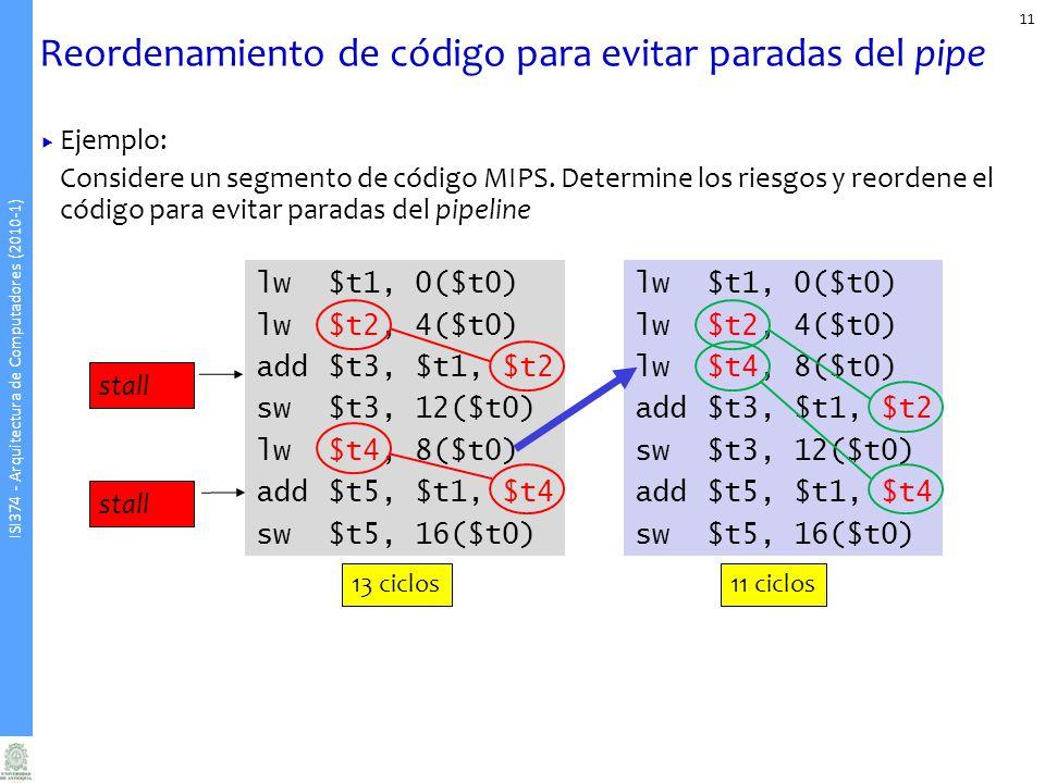 ISI374 - Arquitectura de Computadores (2010-1) Reordenamiento de código para evitar paradas del pipe Ejemplo: Considere un segmento de código MIPS. De