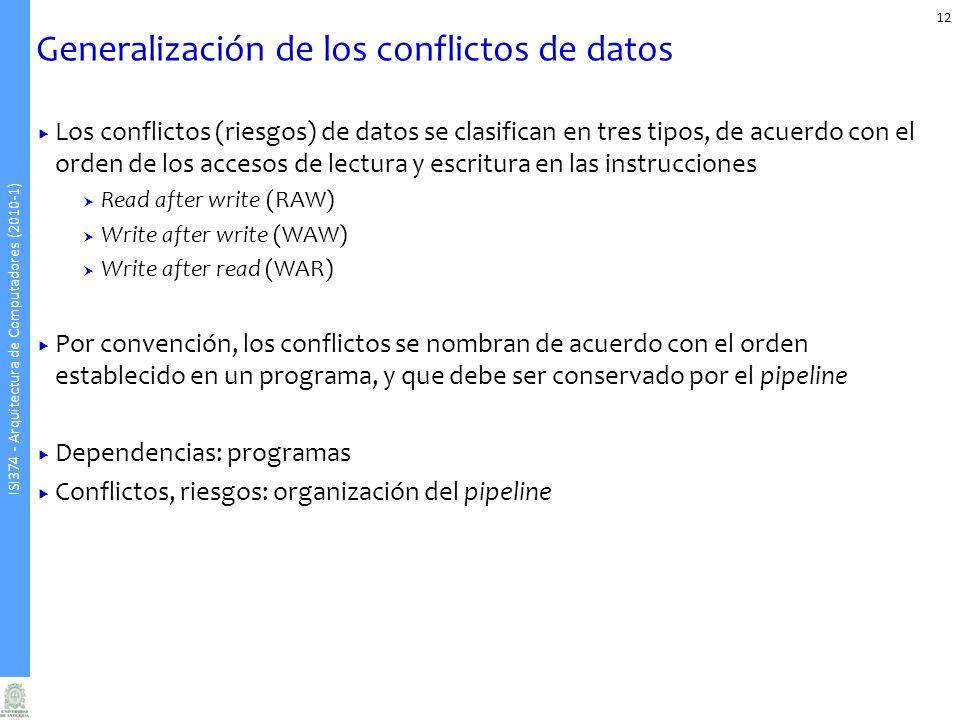 ISI374 - Arquitectura de Computadores (2010-1) Generalización de los conflictos de datos Los conflictos (riesgos) de datos se clasifican en tres tipos