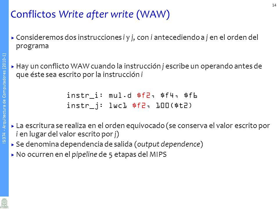 ISI374 - Arquitectura de Computadores (2010-1) Conflictos Write after write (WAW) Consideremos dos instrucciones i y j, con i antecediendo a j en el o