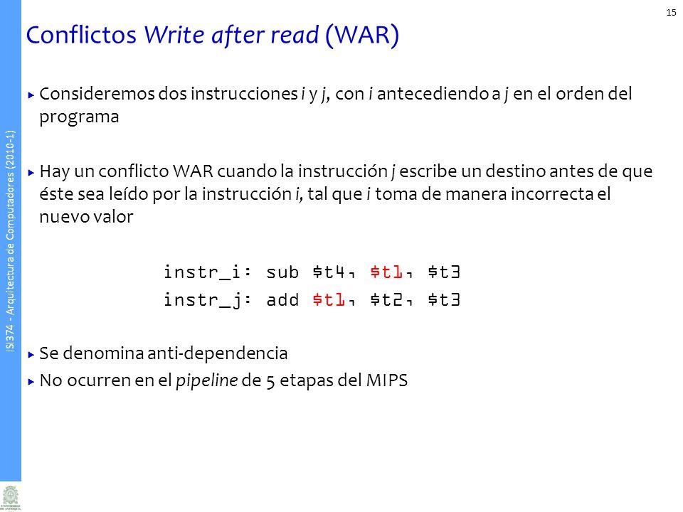 ISI374 - Arquitectura de Computadores (2010-1) Conflictos Write after read (WAR) Consideremos dos instrucciones i y j, con i antecediendo a j en el or