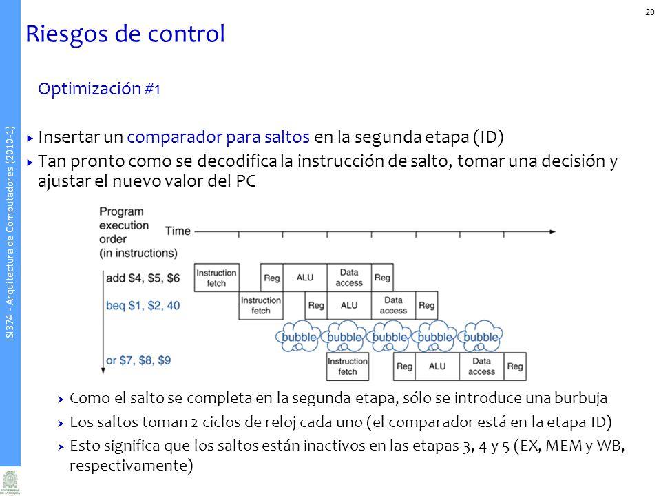 ISI374 - Arquitectura de Computadores (2010-1) Riesgos de control Optimización #1 Insertar un comparador para saltos en la segunda etapa (ID) Tan pron