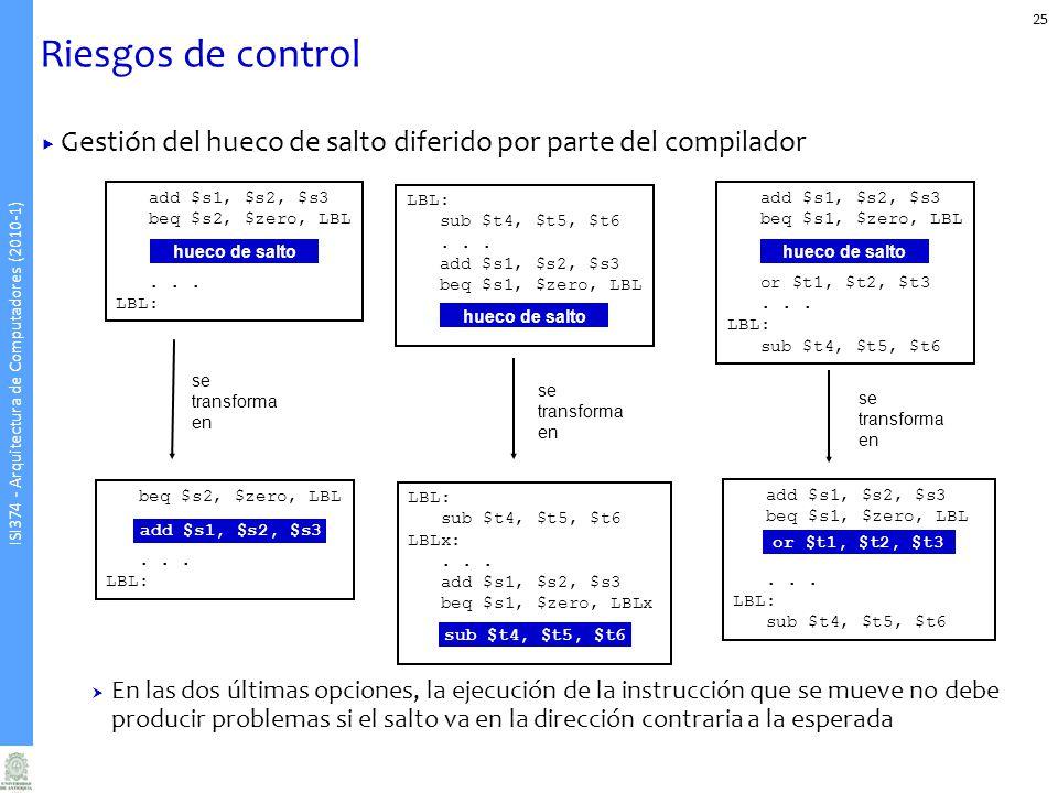 ISI374 - Arquitectura de Computadores (2010-1) Riesgos de control Gestión del hueco de salto diferido por parte del compilador En las dos últimas opci