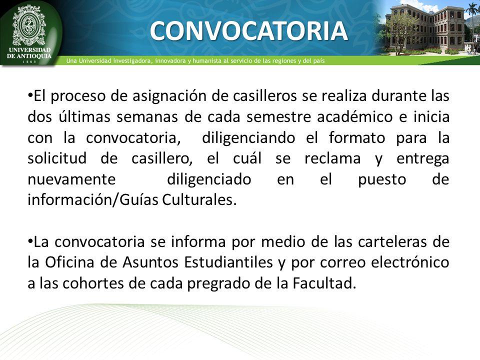 CONVOCATORIA El proceso de asignación de casilleros se realiza durante las dos últimas semanas de cada semestre académico e inicia con la convocatoria