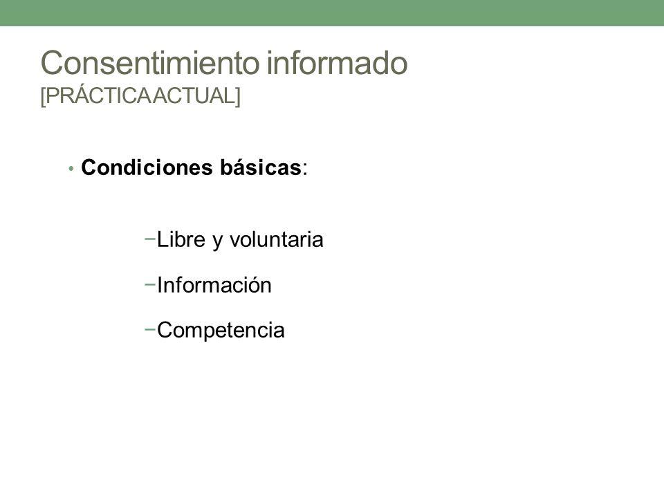 Condiciones básicas: Libre y voluntaria Información Competencia Consentimiento informado [PRÁCTICA ACTUAL]