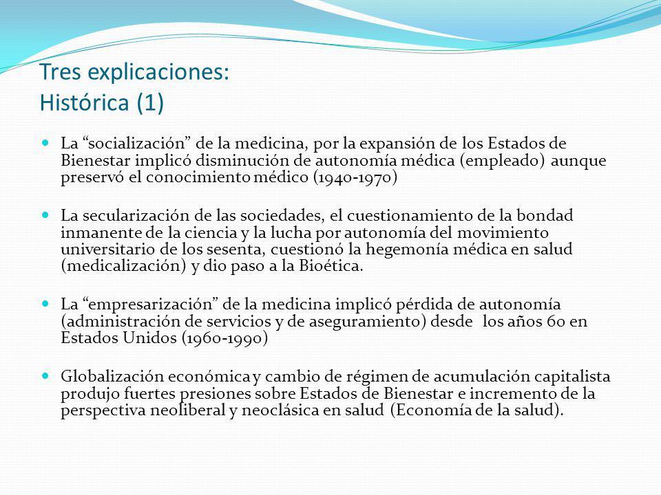 Tres explicaciones: Histórica (1) La socialización de la medicina, por la expansión de los Estados de Bienestar implicó disminución de autonomía médic