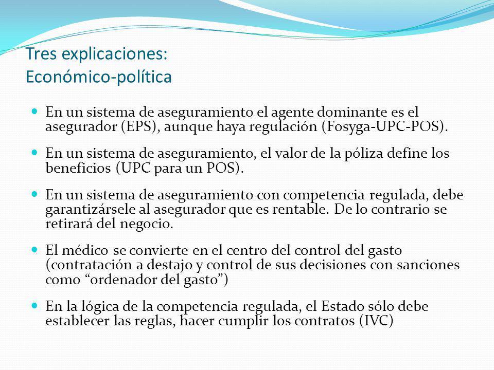 Tres explicaciones: Económico-política En un sistema de aseguramiento el agente dominante es el asegurador (EPS), aunque haya regulación (Fosyga-UPC-P