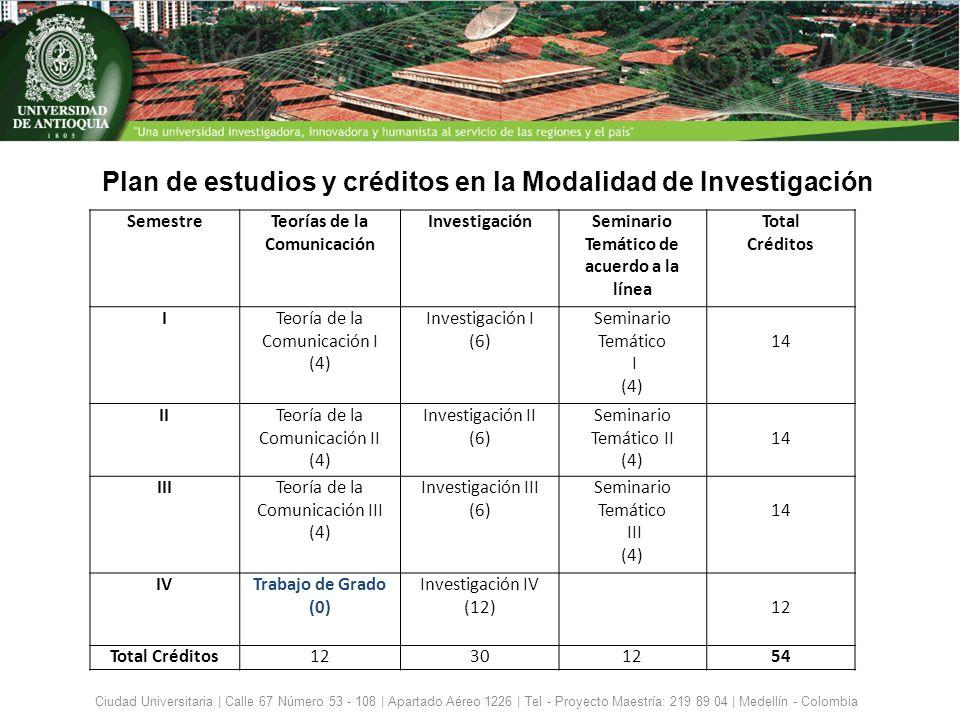 Ciudad Universitaria | Calle 67 Número 53 - 108 | Apartado Aéreo 1226 | Tel - Proyecto Maestría: 219 89 04 | Medellín - Colombia Plan de estudios y cr
