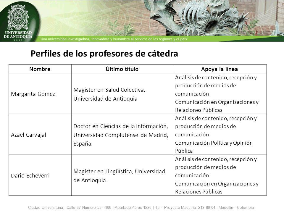 Perfiles de los profesores de cátedra Ciudad Universitaria | Calle 67 Número 53 - 108 | Apartado Aéreo 1226 | Tel - Proyecto Maestría: 219 89 04 | Med
