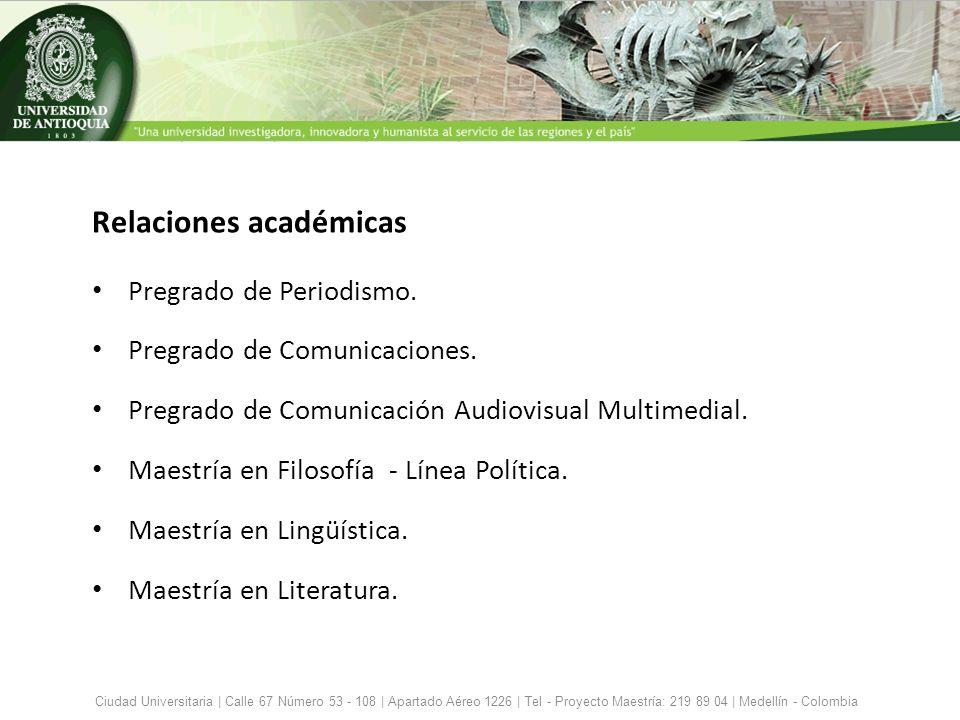 Relaciones académicas Pregrado de Periodismo. Pregrado de Comunicaciones. Pregrado de Comunicación Audiovisual Multimedial. Maestría en Filosofía - Lí