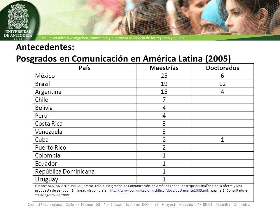 Antecedentes Maestrías en Comunicación activas en Colombia: Pontificia Universidad Javeriana, Bogotá Universidad del Norte, Barranquilla Universidad de Medellín en asocio con Univ.