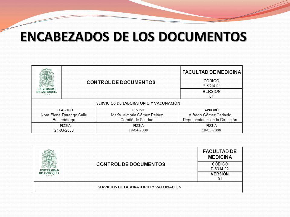 ENCABEZADOS DE LOS DOCUMENTOS CONTROL DE DOCUMENTOS FACULTAD DE MEDICINA CÓDIGO P-8314-02 VERSIÓN 01 SERVICIOS DE LABORATORIO Y VACUNACIÓN ELABORÓ Nor