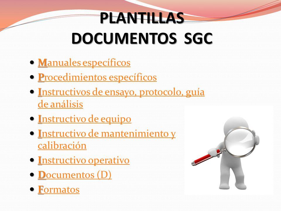 PLANTILLAS DOCUMENTOS SGC M Manuales específicos M anuales específicos P Procedimientos específicos P rocedimientos específicos I Instructivos de ensa