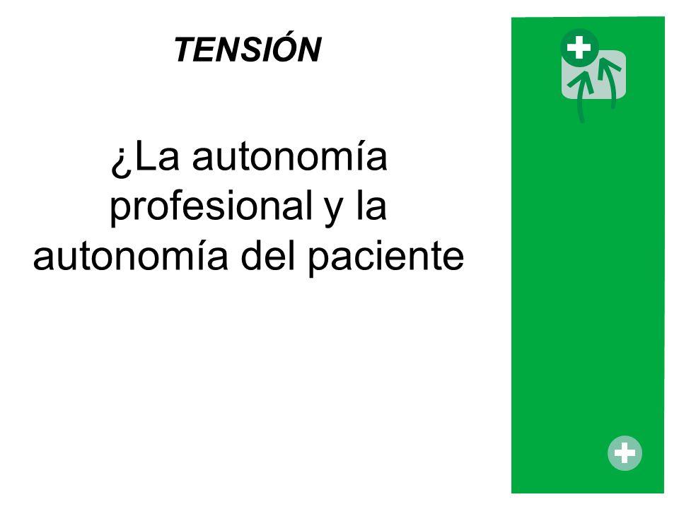 ¿La autonomía profesional y la autonomía del paciente TENSIÓN
