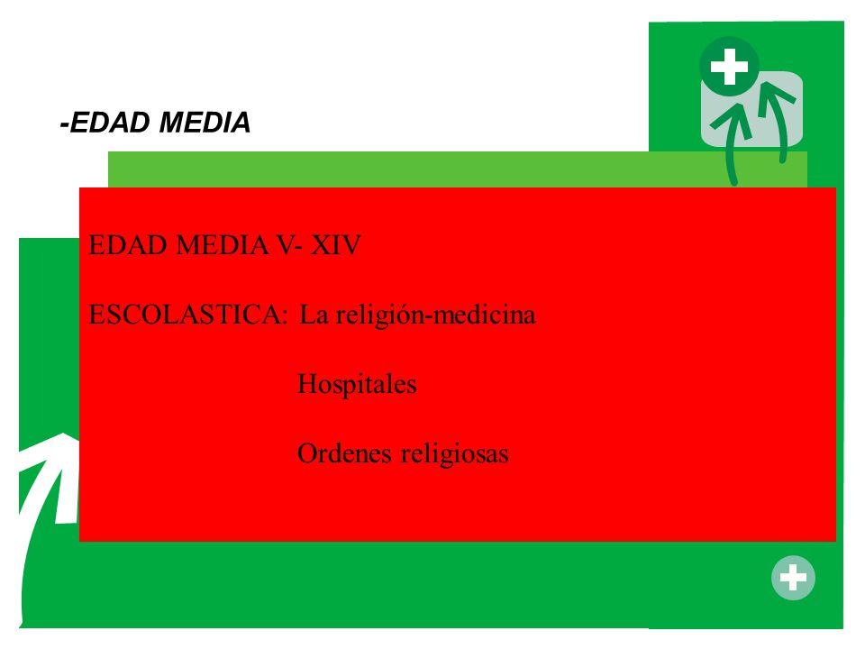 -EDAD MEDIA EDAD MEDIA V- XIV ESCOLASTICA: La religión-medicina Hospitales Ordenes religiosas